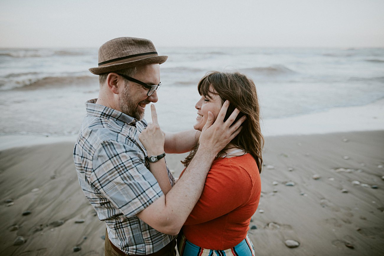 Milwaukee Engagement Session by Lake Michigan, Milwaukee Wedding Photographer, Engagement with guitars