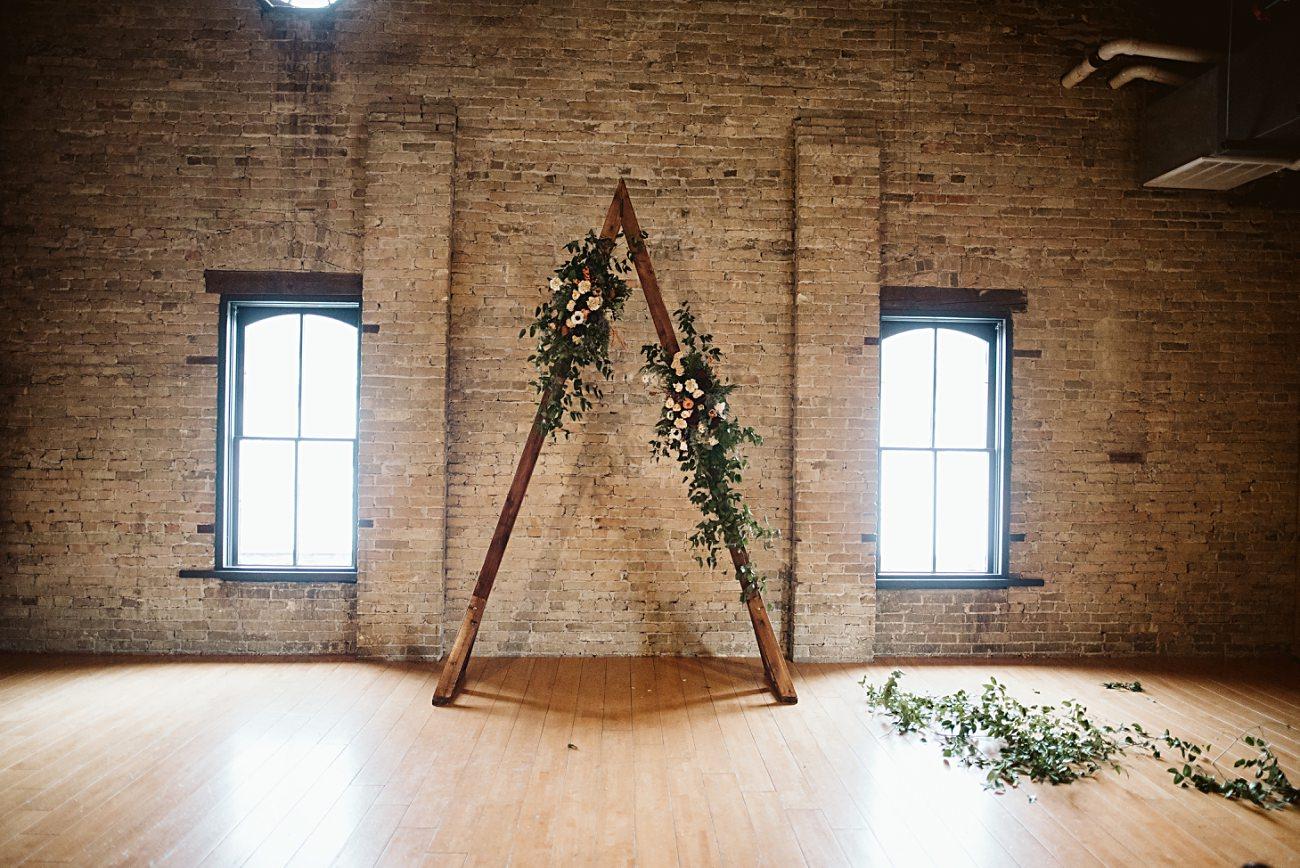 Wedding backdrop, Winter Wedding, Lageret Wedding in Stoughton Wisconsin, Fall Wedding, Madison WI Wedding, Industrial Wedding, Moody Wedding, floral bridesmaid dress,