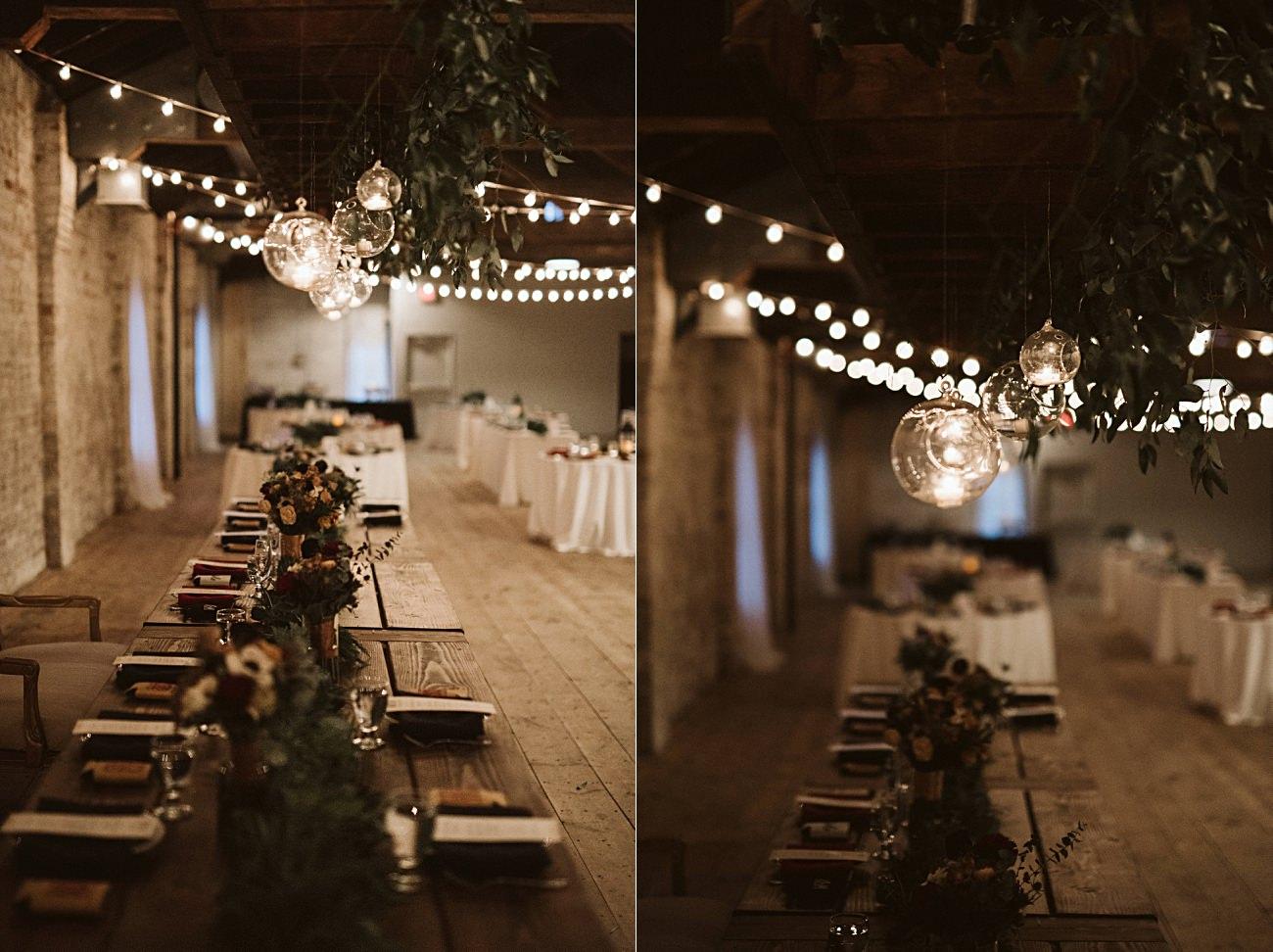Candlelit Wedding Reception, Winter Wedding, Lageret Wedding in Stoughton Wisconsin, Fall Wedding, Madison WI Wedding, Industrial Wedding, Moody Wedding, floral bridesmaid dress,
