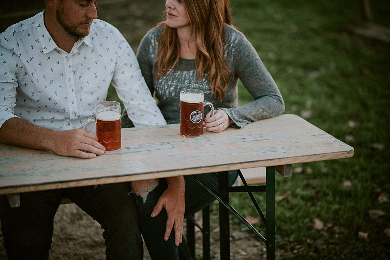 Beer Garden Engagement, Downtown Engagement in Madison Wisconsin, Urban Engagement, Madison WI Wedding Photographer
