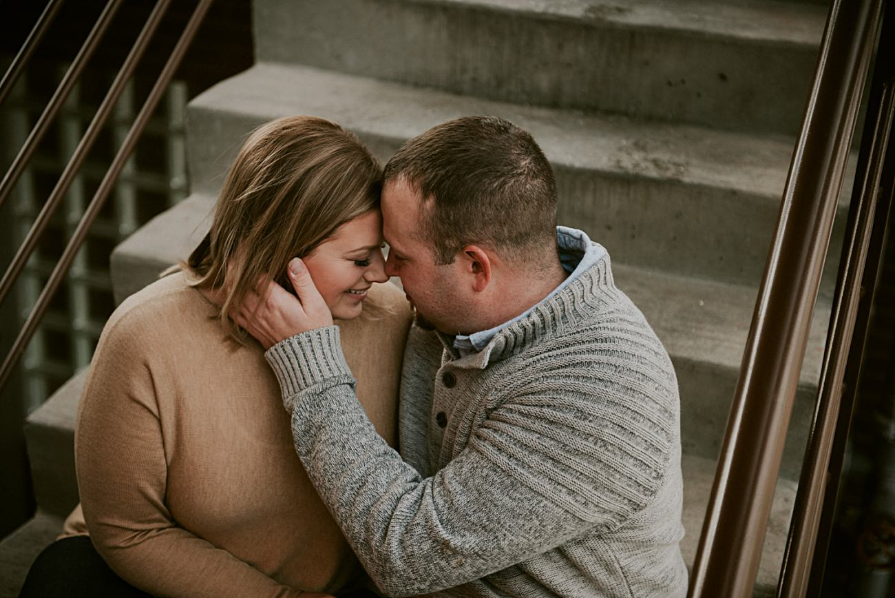 Stairwell Engagement, Rooftop Winter Engagement in downtown Madison Wisconsin, Wisconsin Wedding Photographer