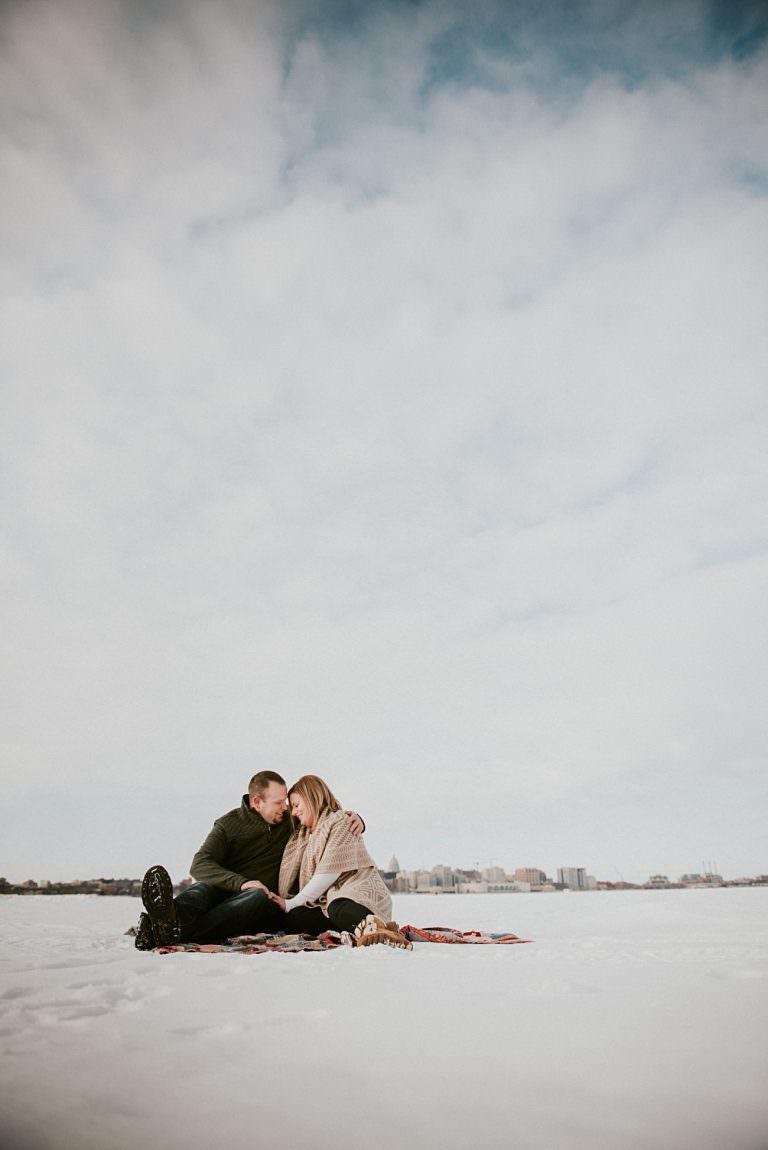 Frozen Lake Engagement on Lake Monona, Winter Engagement in Olin Park Madison Wisconsin, Winter Wedding Photographer