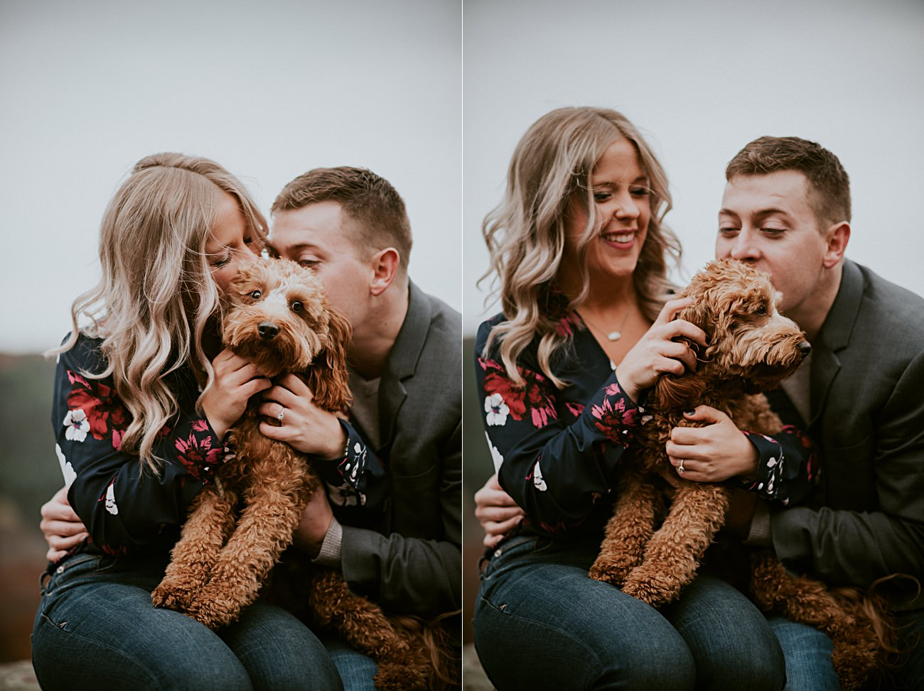 Hiking Engagement, Engagement with Dogs, Bluff Engagement Session in Wisconsin, Madison WI Photographer