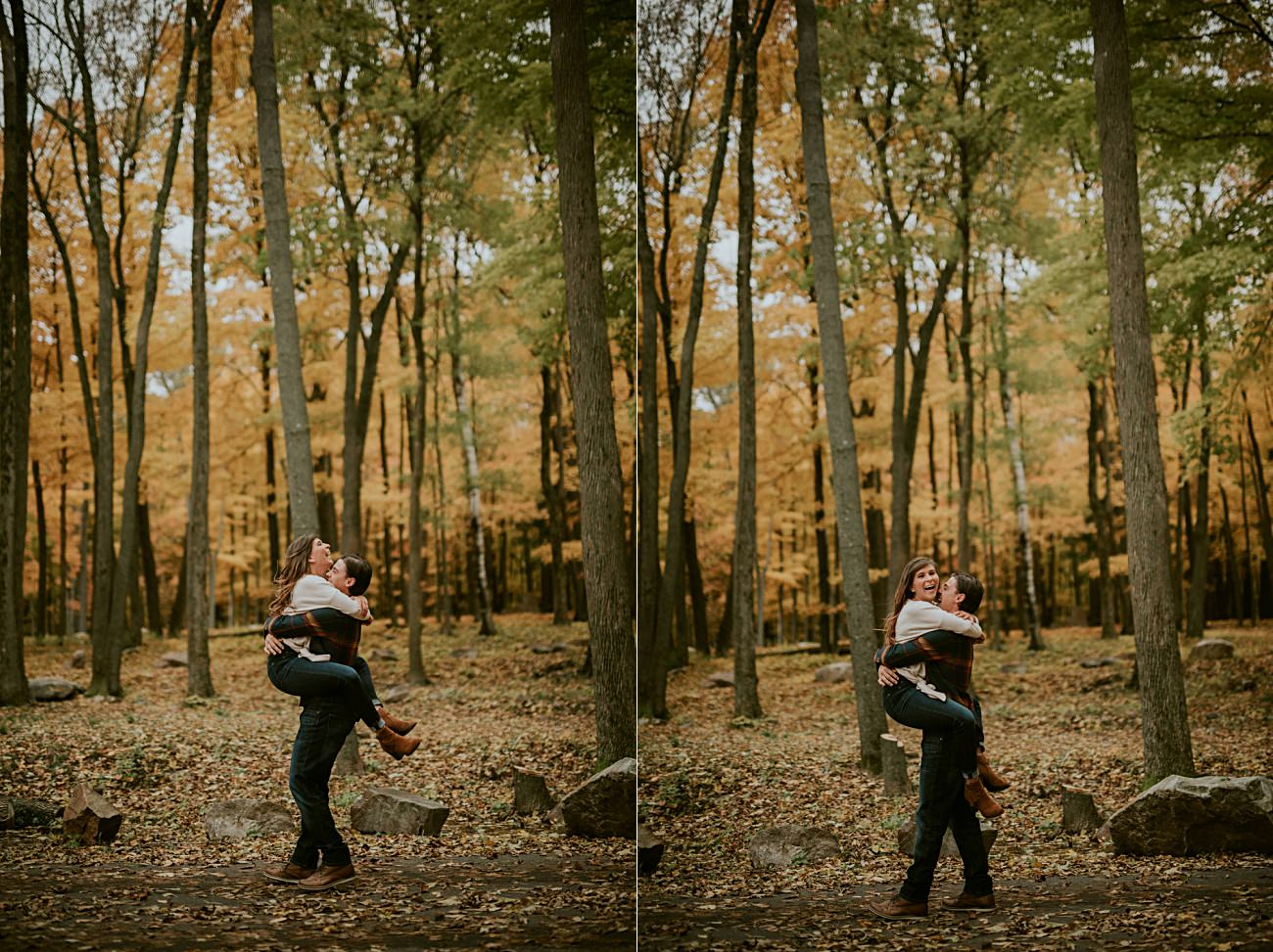 Fall Engagement Session on top of a Mountain in Wisconsin, Wausau Wedding Photographer