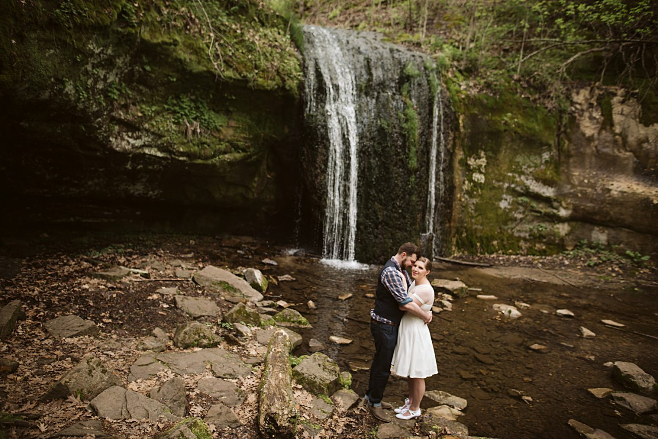 Groom in Plaid, Short Wedding Dresses, State Park Engagement, Wisconsin Waterfalls, Governor Dodge State Park Elopement, Madison WI Wedding Photographer