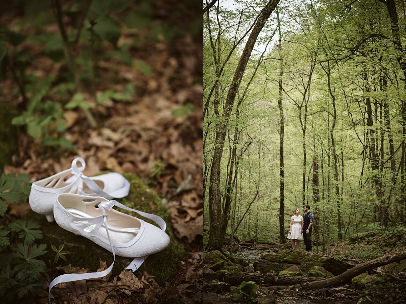 Short Wedding Dresses, State Park Engagement, Wisconsin Waterfalls, Governor Dodge State Park Elopement, Madison WI Wedding Photographer
