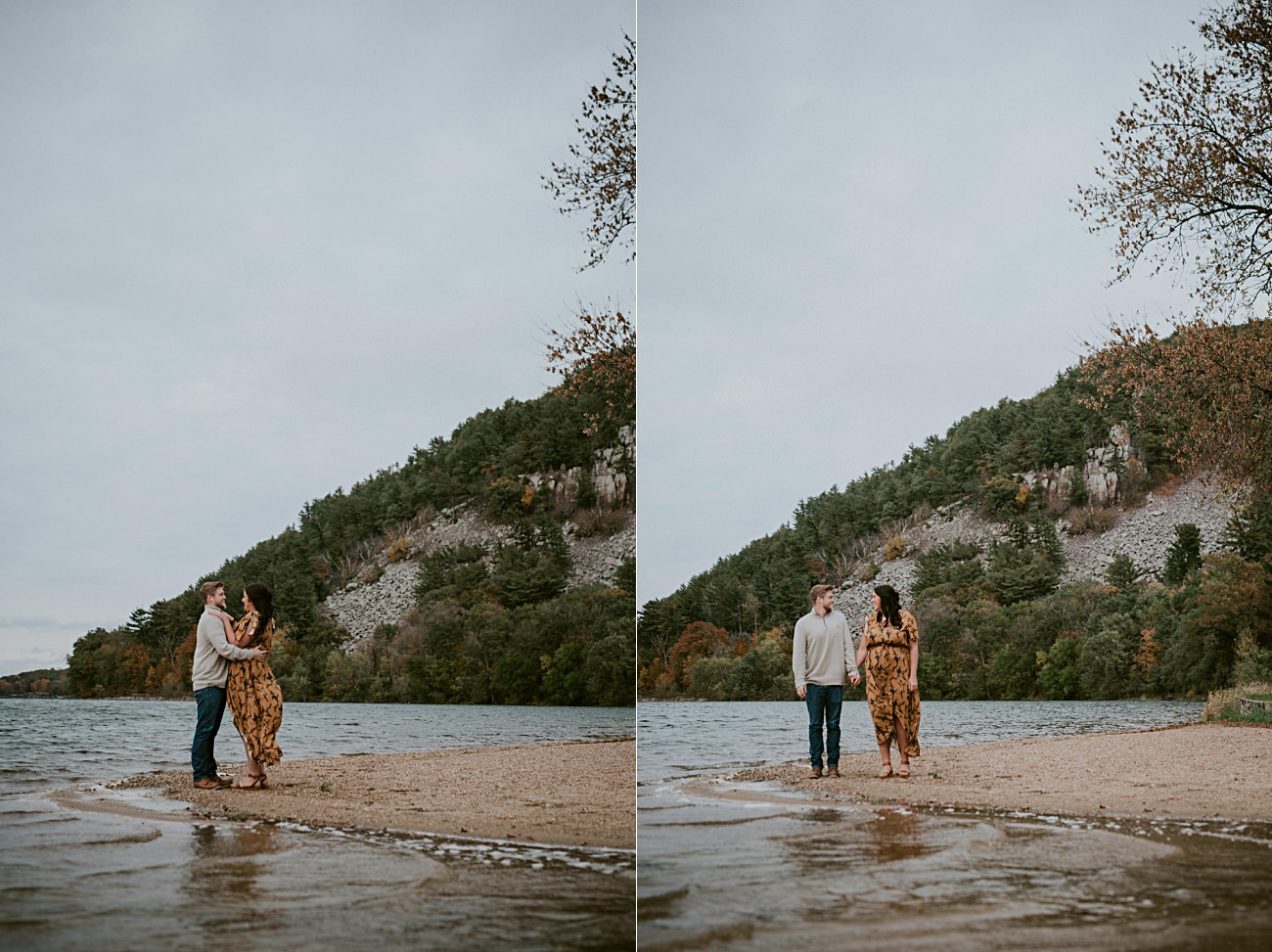 Fall Engagement on a Lake Engagement, Madison Wisconsin Wedding Photographer, Natural Intuition Photography,