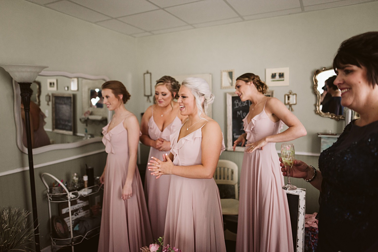 Bride Getting Ready, Pink Bridesmaid Dresses,Bride wi Vineyard Wedding, Barn Wedding In Wisconsin, Over the Vines Wedding, Bride and Groom in field, Natural Intuition Photography, Madison Wisconsin Wedding Photographer
