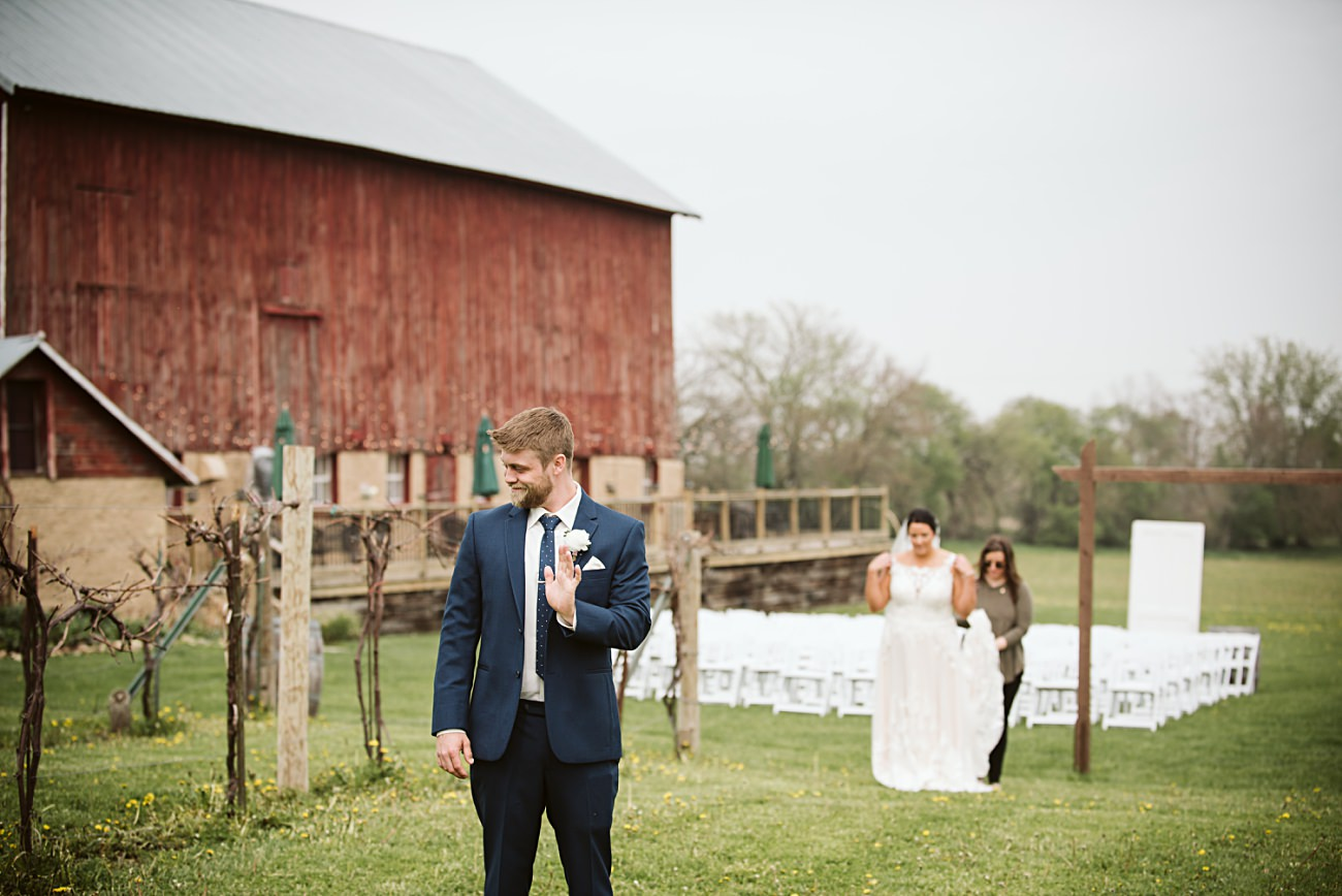 First Look in Vineyard, Vineyard Wedding, Barn Wedding In Wisconsin, Over the Vines Wedding, Bride and Groom in field, Natural Intuition Photography, Madison Wisconsin Wedding Photographer