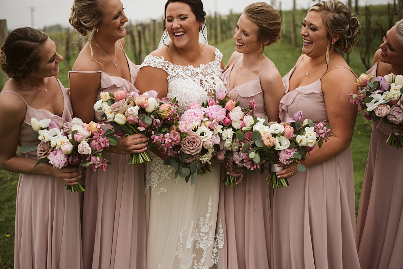 Bridesmaid Photos with Bride,Vineyard Wedding, Barn Wedding In Wisconsin, Over the Vines Wedding, Bride and Groom in field, Natural Intuition Photography, Madison Wisconsin Wedding Photographer