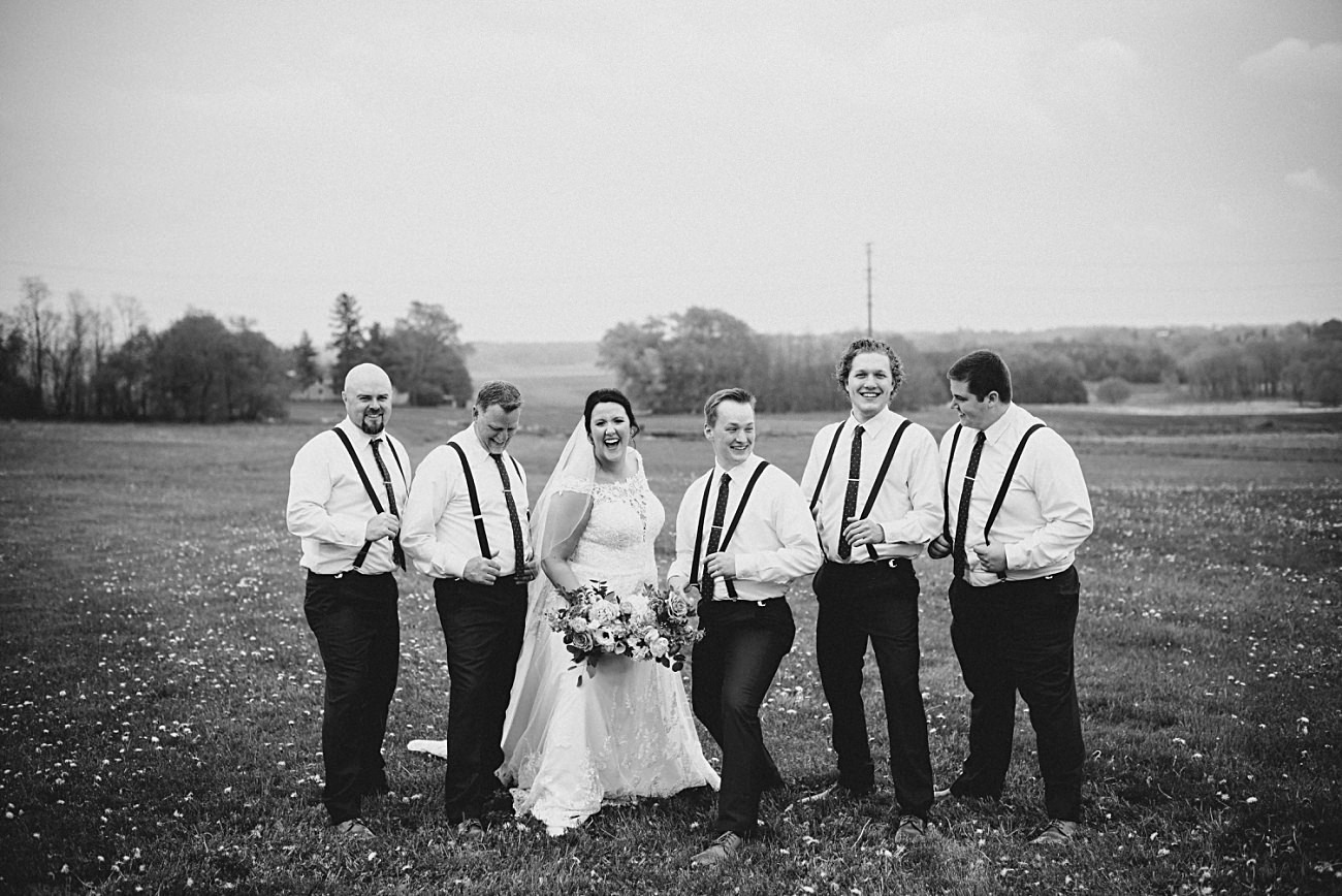 Wedding Party Photos in field, Bridesmaid Photos with Bride,Vineyard Wedding, Barn Wedding In Wisconsin, Over the Vines Wedding, Bride and Groom in field, Natural Intuition Photography, Madison Wisconsin Wedding Photographer