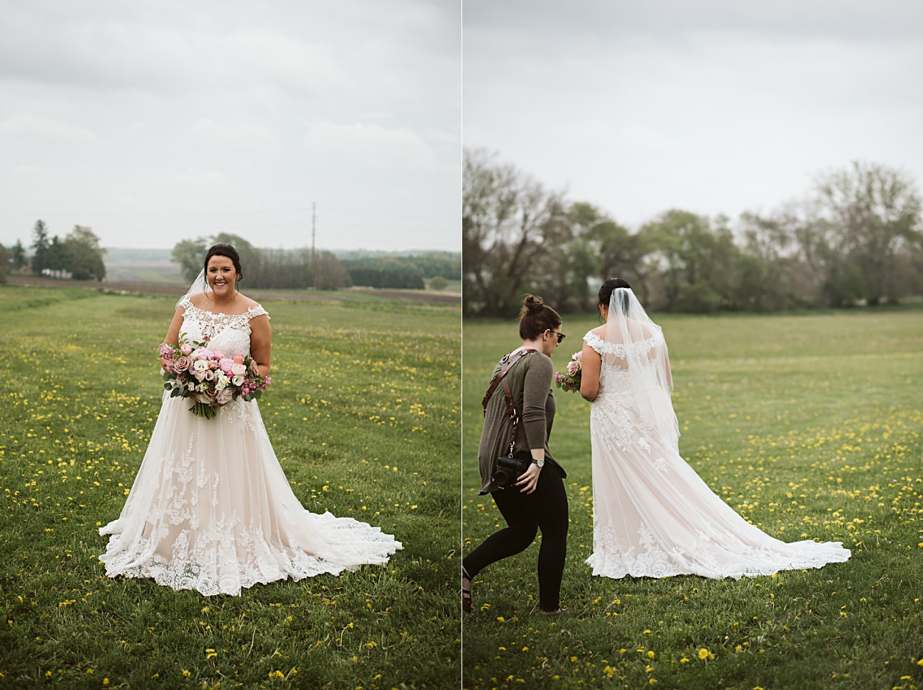 Barn Wedding In Wisconsin, Over the Vines Wedding, Bride and Groom in field, Natural Intuition Photography, Madison Wisconsin Wedding Photographer