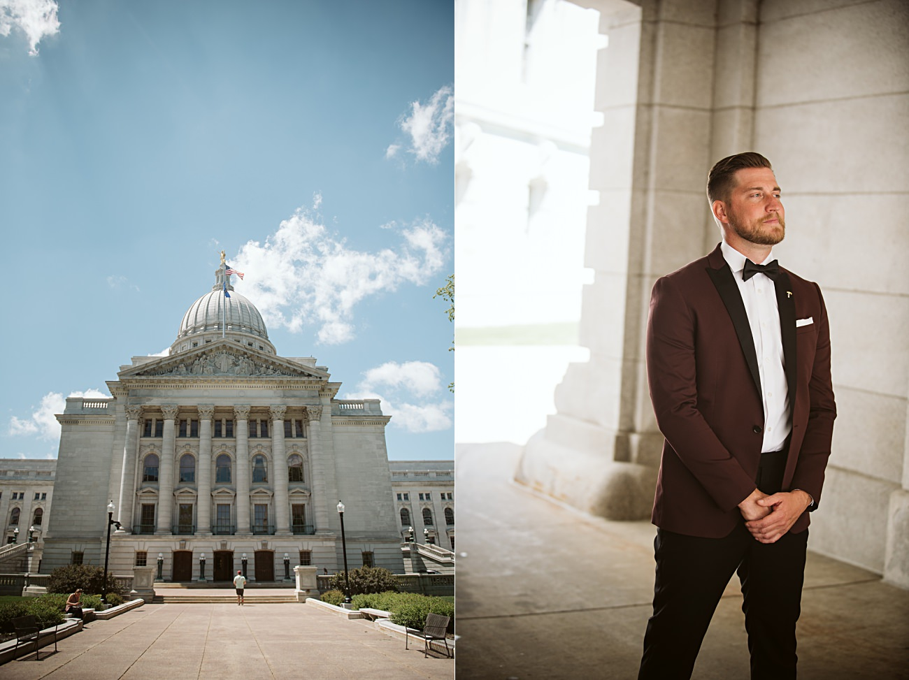 Madison Capital Building First look, Madison Wisconsin Wedding