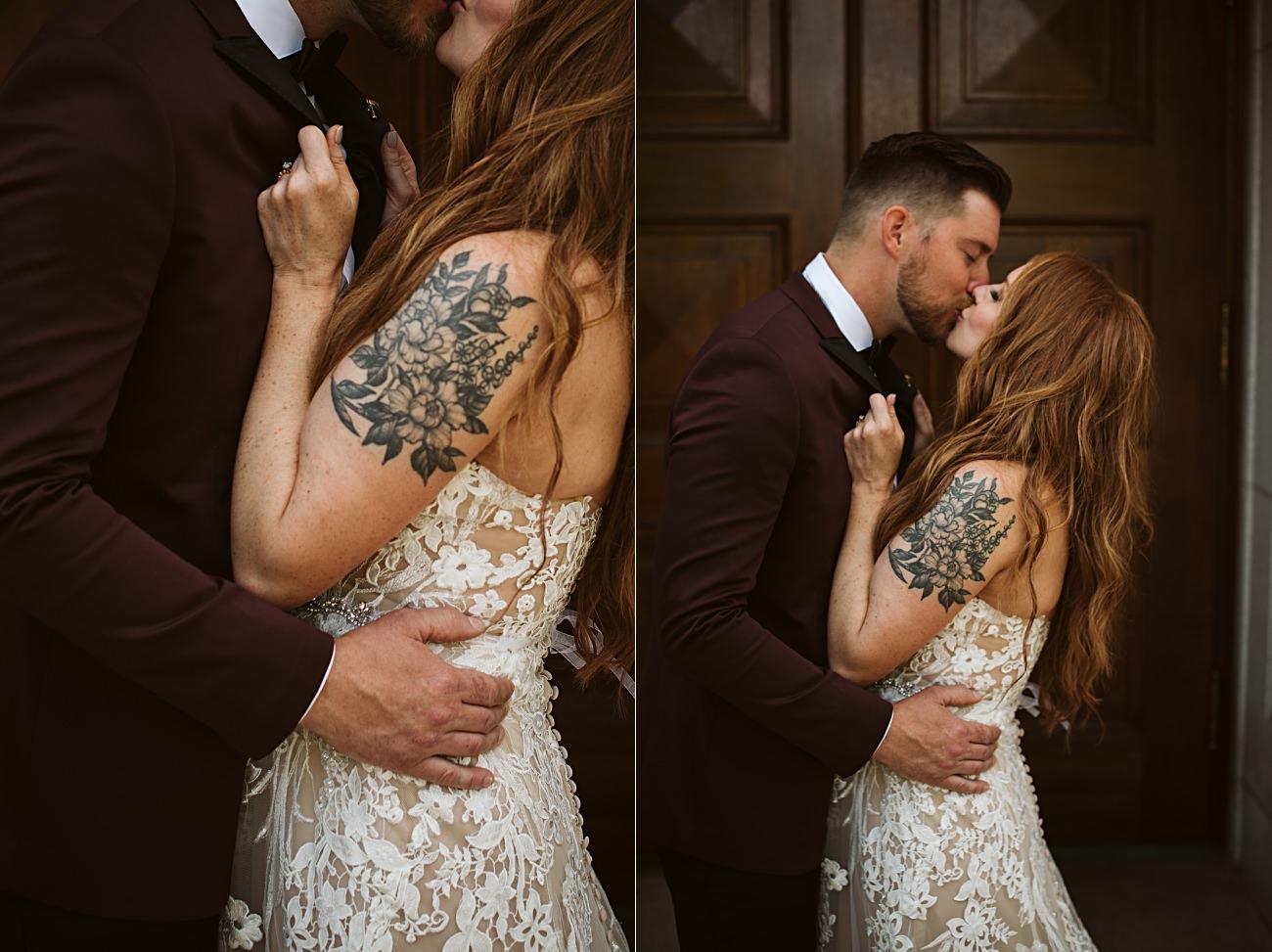 Madison Capital Building wedding party photos, Madison Wisconsin Wedding, Tattoo Bride