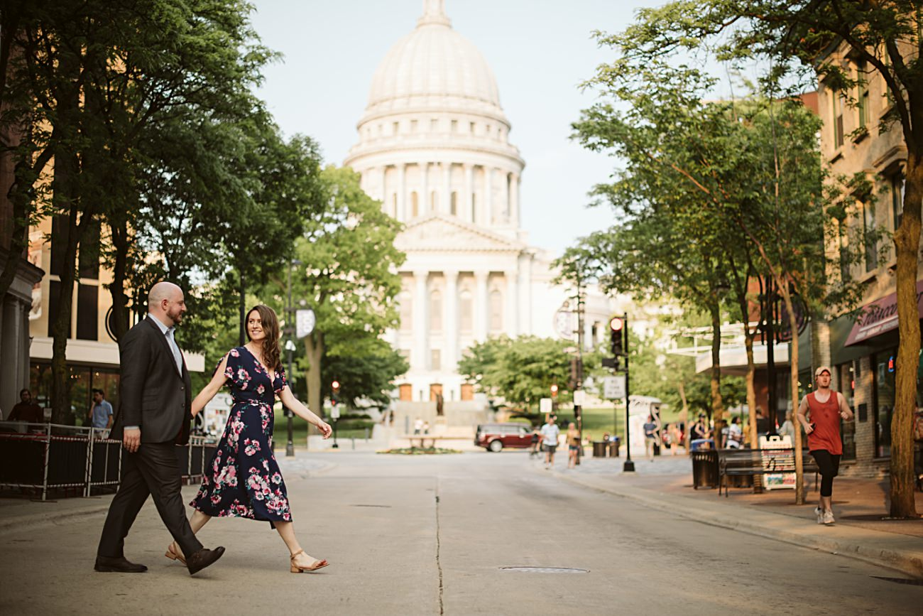State Street Engagement, Madison State Capital Building Engagement Session, Madison Wisconsin Wedding Photographer, Summer Engagement, Natural Intuition Photography
