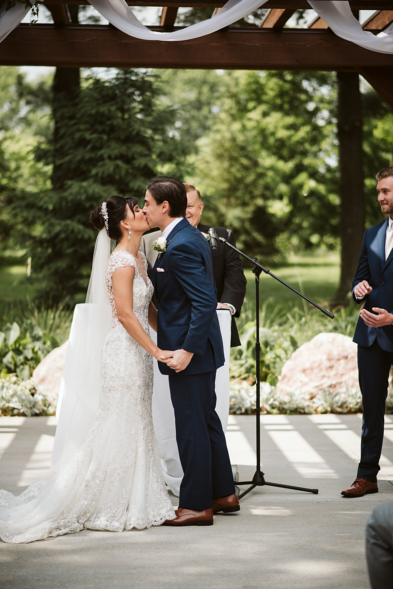 Ceremony Photos, Navy Grooms Suit, Modern Pink Wedding in Wisconsin - Golf Course Wedding - Madison WI Wedding Photographer, Natural Intuition Photography
