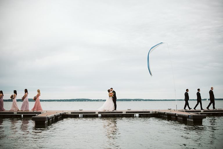 East Side Club Wedding in Madison Wisconsin, Lakeside Wedding Madison Wisconsin, Fall Wedding on a Lake, Natural Intuition Photography, Wedding Party images at Edgewater