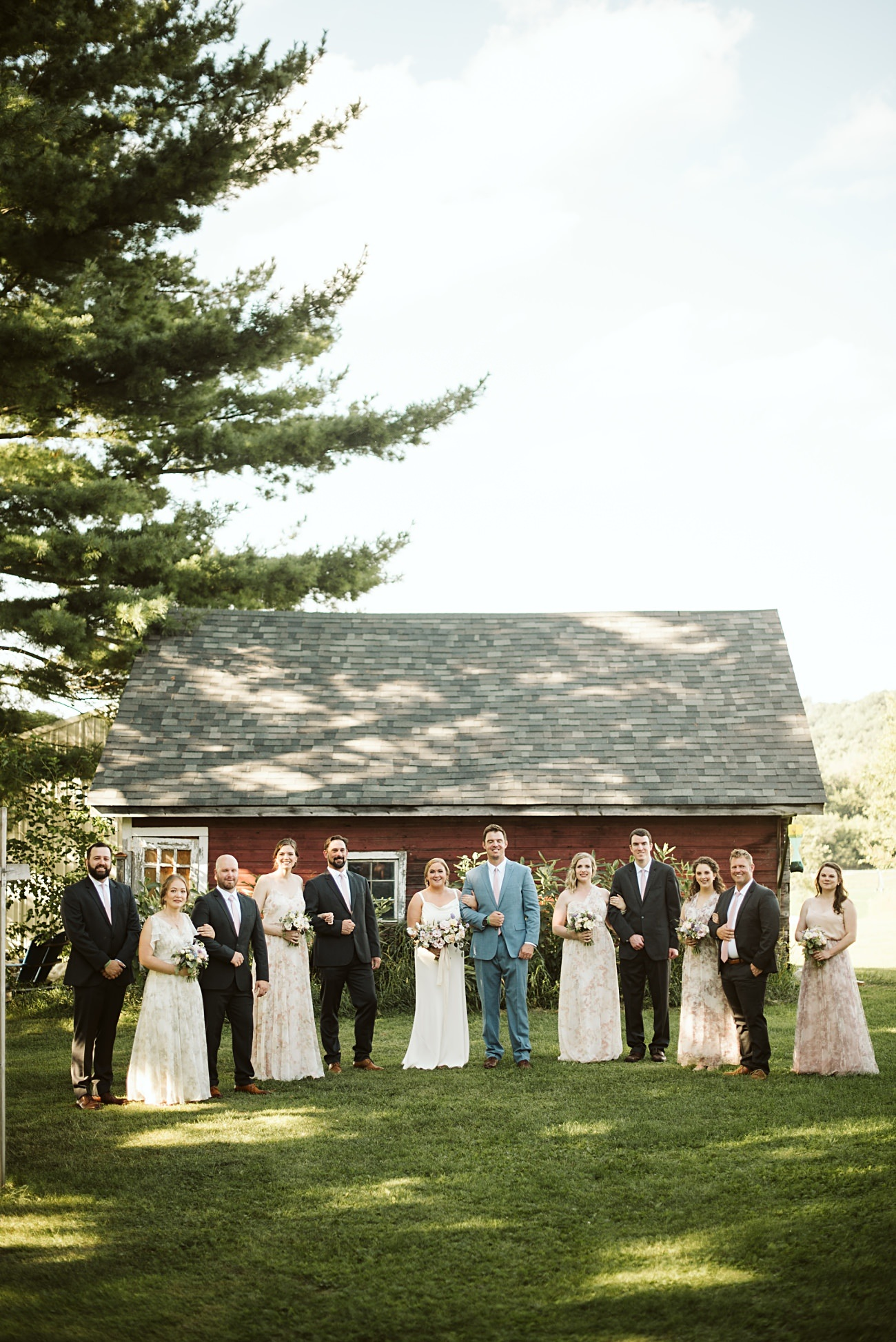 Octagon Barn Wedding near Spring Green Wisconsin, Barn Wedding Inspiration, Wedding Party Inspiration, Floral Bridesmaid Dresses