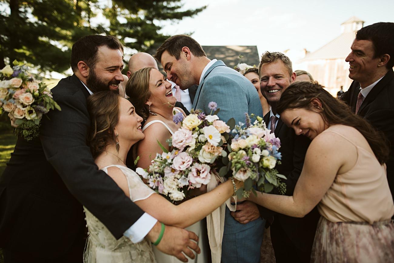 Octagon Barn Wedding near Spring Green Wisconsin, Barn Wedding Inspiration, Wedding Party Inspiration, Floral Bridesmaid Dresses